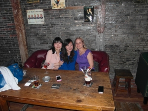 Lucia, Nancy and Bron in the relocated Blarney Stone