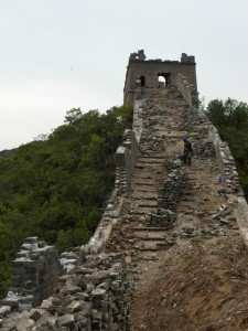 "A ""wild"" bit of the Great Wall.. and a confused construction worker"