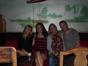 In Captain's Hostel near the Bund: Andrea, Rachel, Bron and me.