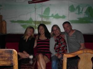 In Captain's Hostel near the Bund: Andrea, Rachel, Bron and me.