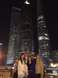 Jude, me, Rachel, Kim and Bron in front of Shanghai's new skyline
